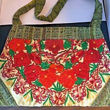 Embroidered Handbag Zipper Boho Floral Fabric Handmade Mayan Huipil Guatamala