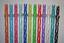 """12 - 11"""" Reusable Straws Clear Swirly Colored Plastic Acrylic Rings BPA Free #7"""