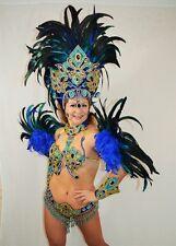 BRAZILIAN BLUE carnival SAMBA CABARET dance LUX COSTUME bikini/SHOWGIRL/CRYSTALS
