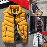 Mens Winter Warm Sleeveless Down Cotton Padded Jacket Vest Waistcoat Parka L-3XL