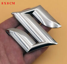 80mm Silver Suzuki S ABS Emblem Badge Fairing Decal Sticker Motorcycle Truck SUV