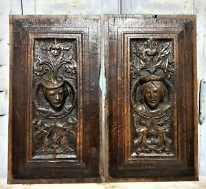 16th Pair portrait decorative carving panel Antique french architectural salvage