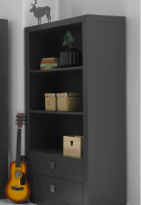 BOOKCASE - 2 DRAWER WITH SHELVES - CHARCOAL