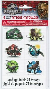 New Pack JURASSIC World Dinosaurs T-Rex 4 Sheets Temporary TATTOOS