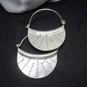 Hill Tribe Fine Sterling Silver Earrings Moon curve Tribal Dots Huggie Hoops