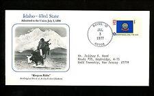 Commemorative Cover Fifty State Flag Statehood Boise Idaho ID 1890