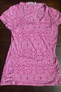 Athleta Pink Print Burnout Short Sleeve T-Shirt, size Small