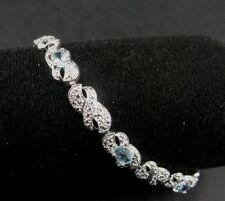 Aquamarine Blue Stones Sterling Silver 925 Tennis Link BRACELET
