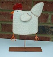 Metal Wobbly Chicken Hen Ornament Painted 25 cm Funny Gift New