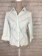 NEW LOOK - Blue 3/4 Sleeve Stripe Print Button Shirt - Womens - Size 12