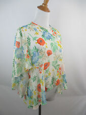 NEW W TAG ZARA WOMAN SZ S MULTICOLOR FLORAL PRINT SHEER RUFFLE BELL SLEEVE SHIRT