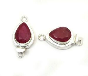 1 PC TEARDROP RUBY BOX CLASP 1 STRAND STERLING SILVER PLATED 750 HSE-329