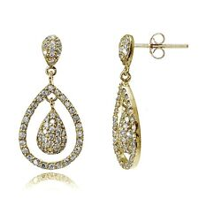 Gold Tone over Sterling Silver Cubic Zirconia Double Teardrop Dangle Earrings
