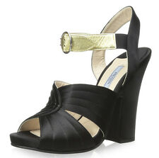 Prada Nero Satin Oro Leather Strappy Platform Wedge Heel 36 1X46E NIB