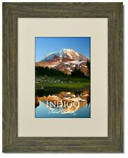 Set of 2 - 11x14 Driftwood Picture Frame, Glass & Warm White Mat for 8.5x11