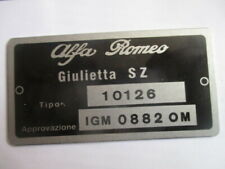 Alfa Romeo Id Nameplate 10126 Giulietta Sz Igm 0882 Om