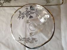 Elegant footed Clear Glass Candy Dish Silver Floral Overlay Flowers 3 feet Wavy