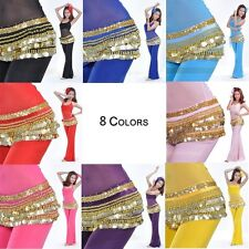 Belly Dance Hip scarf Wrap Belt Waist Chain with gold Coins Carneval party dress