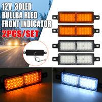 2X Universal 30LED Amber Front Indicator Bull Bar Park Light Lamp Truck Trailer