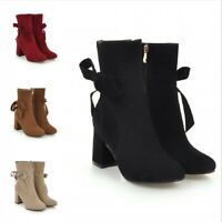 Women's Fashion Suede Fabric Bowknot Round Toe Ankle Boots Block Mid Heel Shoes