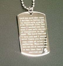 Beautiful Footprints in the Sand Engraved Quotation Pendant Tag Necklace & Chain