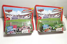 LOT OF 2 DISNEY CARS LAUNCH AND RACE CHICK HICKS AND TANK COAT RACE O RAMA NEW