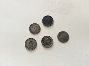 5 x SILVER SIXPENCE COINS Job lot George Victoria