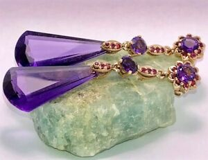 Luxury Hand-Crafted Solid Gold Natural Amethyst & Ruby Pendant Earrings