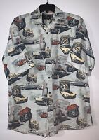 Redhead Men's Large Short Sleeve Button front Shirt Route 66 Cars Americana
