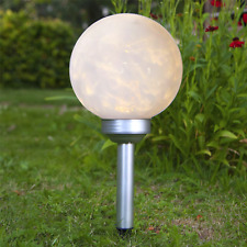 More details for solar led rotating garden mood ball sphere globe stake light warm white