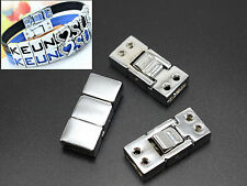 5 Silver Tone Flat Bayonet Clasp For 8mm Leather Band Wristband - Jewelry Clasps