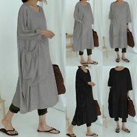 Mode Femme Belle Loose Robe Dresse Manche Longue Plissé Col Rond Droit Jupe Plus