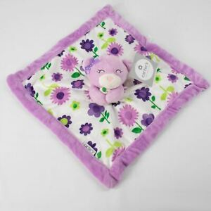 NEW Carters Purple Flowers Teddy Bear Lovie Security Blanket Lovey Floral