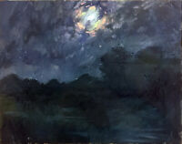 """Night Large Abstract Landscape Oil Painting, 30""""x24"""" Original Signed on Canvas"""