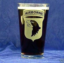 US Army 101st Airborne 16oz etched Beer Glass set of 2