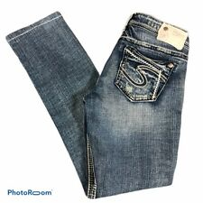 Silver Womens Jeans Aiko Low Rise Straight Leg Size tag 26x32 mea 28x29.5 EUC