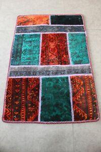 Handmade Patchwork Rug Small Vintage  Carpet 88 x 58 cm - 1.90 x2.88 ft