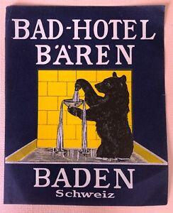 Luggage Label Bad Hotel Bären, Baden - Switzerland