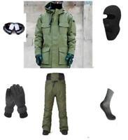 D48 Men Ski Snowboard Jacket Pants Gloves Goggles Balaclava Socks S M L XL XXL
