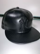 New York Yankees New Era - Black On Black PU Leather Snap Back Hat Cap 9Fifty