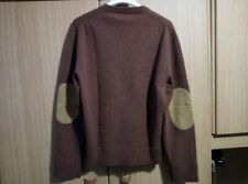 DSQUARED REDDISH BROWN & ELBOW PATCHES WOOL JUMPER KNIT PULLOVER SWEATER SIZE M