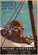 Art ENGLAND TO AUSTRALIA  WORLD'S GREATEST AIR RACE Flying airplane Poster Print