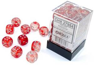 Chessex Nebula Red Luminary with Silver pips 12 mm Dice Block (36 dice)