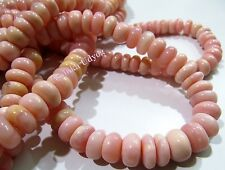 Natural Peruvian Pink Opal Smooth Rondelle Beads 10-13mm, Strand 13.5 inch long.