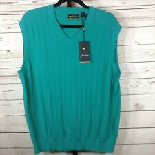 Jack Nicklaus Mens Vest Golf Knit Teal Sleeveless Size Large