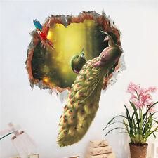 Colourful Peacock Feathers Birds Wall Sticker 3d Broken Art Decal Animals Decor