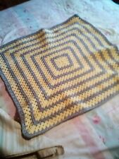 Hand Made  Crochet Baby Blanket  30x30 inches cot SILVER GREY/YELLOW  FREE POST