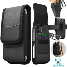 Cell Phone Holster Nylon Belt Clip Loop Pouch Wallet Case Cover with Card Holder