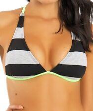 Hurley Women's Striped Racer Back Halter Bikini Top 4747 Size S/M
