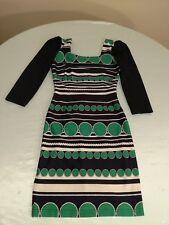 Favori 7 US EU 36 dress in black-green-white border print polyester blend
